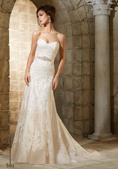 Blu by Mori Lee 5361 Lace A-Line Wedding Dress – Off White by Bridal Expressions