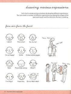 How to draw cute face expressions. from Illustration School: Let's Draw Happy People.