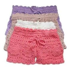 Crochet and Knitting Free Pattern – Mode für Frauen Shorts Tejidos A Crochet, Crochet Pants, Crochet Skirts, Crochet Clothes, Crochet Lace, Crochet Bikini, Cotton Crochet, Crochet Shorts Pattern, Crochet Tops
