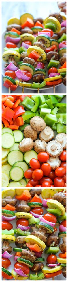 Vegetable Kabobs - These marinated fresh veggie kabobs are packed with tons of flavor - perfect as a healthy side dish to any meal! Or add some chicken to make it a delicious healthy meal Healthy Sides, Healthy Side Dishes, Vegetable Dishes, Healthy Snacks, Healthy Eating, Grilling Recipes, Vegetable Recipes, Vegetarian Recipes, Cooking Recipes