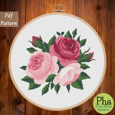 Floral Cross Stitch Pattern, counted cross stitch chart, flower, peony, embroidery, xstitch pdf pattern chart,9inch, peony cross stitch pattern, pink flowers cross stitch chart, classic cross stitch embroidery pdf, printable cross stitch pattern, INSTANT DOWNLOAD PDF. Easy counted cross stitch chart, xstitch, punto croce, embroidery, point de croix, Sticken im Kreuzstich.  Fabric: Aida 14 Size: 126 x 126 Stitches Dimension (Aida 14): 9 inches (22.9 cm)wide, 9 inches (22.9 cm) high DMC… Cross Stitching, Cross Stitch Embroidery, Color Patterns, Print Patterns, Modern Cross Stitch Patterns, Pink Flowers, Pattern Design, Hoop, Projects