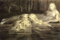 William Blake - Har and Heva Bathing, Mnetha Looking on. Tiriel, Plate #2. N.d.