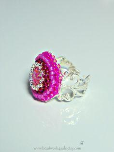 Pink Opal Silver Filigree Adjustable Beaded Ring by Beadwork4Sale