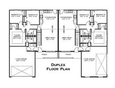 Duplex - Floor Plan Duplex Floor Plans, House Floor Plans, Dream House Plans, Small House Plans, Duplex Design, House Design, Multi Family Homes, Duplex House, Apartment Plans