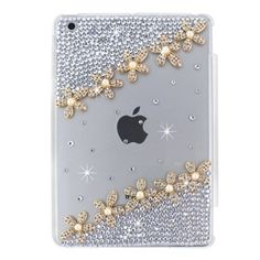 iPad Mini 1/2/3 Case Set, Handcraft Bling Glitter Crystal Clear Hard Back Case Bonus Premium Tri-fold Magnetic Leathe Stand Smart Front Cover for iPad Mini 1/ Mini 2 / Mini 3 DIY6 Gold Floral Blue *** More info could be found at the image url.