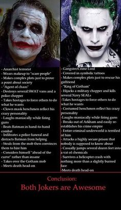 Heath was a fantastic real impression of if Joker was real. Leto was a great joker for being a crime lord henchmen.