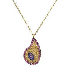Ασημένιο κολιέ από ασήμι 925° με κίτρινο επιχρύσωμα, σε σχήμα μάτι με πολύχρωμα ζιργκόν. Silver Jewellery, Jewelry, Pendant Necklace, Gold, Jewlery, Jewerly, Schmuck, Jewels, Jewelery