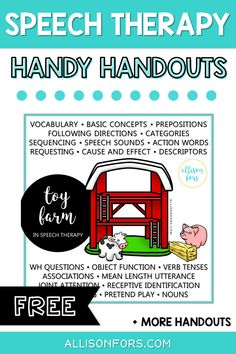 Free speech therapy printables for SLPs, educators, and parents. Use for quick reference, parent education, and as functional decor! Using a toy farm in therapy. Speech Language Therapy, Speech Language Pathology, Speech And Language, Preschool Speech Therapy, Toddler Speech Activities, Preschool Songs, Speech Room, Language Activities, Apps