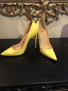 CHRISTIAN LOUBOUTIN SO KATE 120MM YELLOW QUEEN PATENT LEATHER $725 36 1/2 US 6 1 #shoes #designer