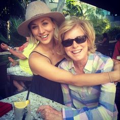 Kaley Cuoco and her mum.