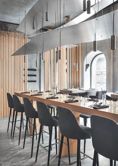 Birch by DA Architecture Bureau: 2018 Best of Year Winner for Casual Dining Bar Table Design, Cafe Design, Design Design, Design Ideas, Bar Design Awards, Modern Restaurant Design, Restaurant Bar, Open Office, Communal Table