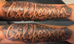 """California"" & roses forearm tattoo. www.jadebuddha.tattoo"