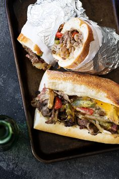 philly cheesesteaks recipe from cooking with cocktail rings Sandwiches For Lunch, Sandwich Recipes, Croissants, Beef Recipes, Cooking Recipes, Philly Cheesesteaks, Love Food, Yummy Food, Yummy Eats