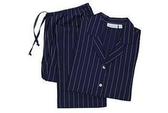 These classic long-sleeve pajamas are made of soft cotton with a striped design.