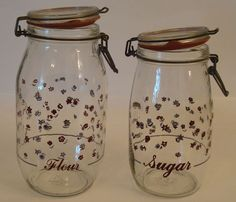 Set of 2 Vintage Glass Canister Storage Jars 2L & 1.5L Red & Blue Flowers in Collectibles, Kitchen & Home, Kitchenware   eBay