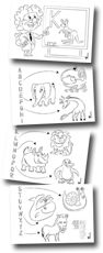 Coloring picture for the kids to learn the ABC (German language)