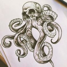 64 ideas for tattoo leg girl skull - - tatoo feminina - tattoo feminin Kraken Tattoo, Mädchen Tattoo, Skull Girl Tattoo, Tattoo Bein, Girl Skull, Tattoo Style, Tattoo Girls, Skull Art, Girl Tattoos