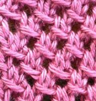 IRISH MESH: multiple of 3 stitches - Row 1: K2 *YO, Sl 1, K2, PSSO* Repeat from *, Knit last stitch  Row 2: Purl  Row 3: K1 *Sl 1, K2, PSSO, YO* Repeat from *,  Knit last two stitches Row 4: Purl