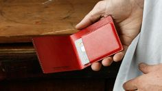 Kangaroo Leather Slim Wallet, Red, Hand Stitched, Billfold Wallet, Leather Wallet, Personalised, Personalized, Card Holder