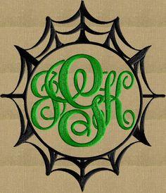 Spider Web Font Frame Monogram Embroidery Design  by StitchElf