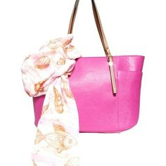 Elise Hope Two-Fer Deal! (a $110 value for only $95) Taylor Tote in Fuchsia & Sealife Stripes Scarf for only $95 & Free Shipping! by Elise Hope on Opensky