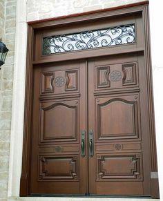 Custom wood double door by Grandeur Doors www. Modern Entrance Door, Main Entrance Door Design, Door Gate Design, Door Design Interior, Wooden Front Door Design, Double Door Design, Wooden Front Doors, Custom Wood Doors, Wood Exterior Door
