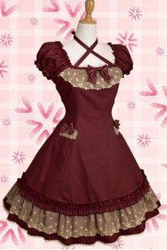 2014 New Style Classical Wine Red Cotton Cross-belt Lace Ruffles Lolita Dress With Bows, ocrun.com
