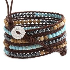 Victoria Emerson - Turquoise, Shell and Hematite on Brown wrap bracelet