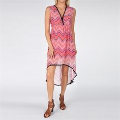 Sweet Pea Women's Contemporary High-Low Chevron Stripe Dress #VonMaur #SweetPea #Pink #Printed #HighLow #Sheer