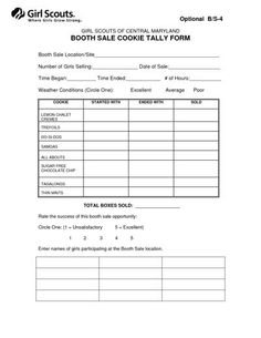 BOOTH SALE COOKIE TALLY FORM