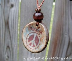 IMAGINE PEACE Ceramic Pendant  peace symbol, agate green, brown with spots of blue...by CropCircleClay