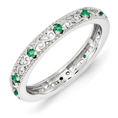 Stackable Expressions Sterling Silver Created Emerald Ring. Sale Priced At $75.  Sizes 5-6-7-8-9-10.