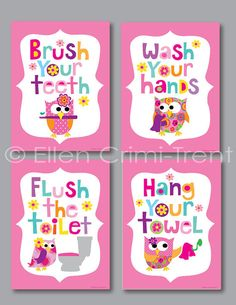 Kids Bathroom Art  Girls  Print Set