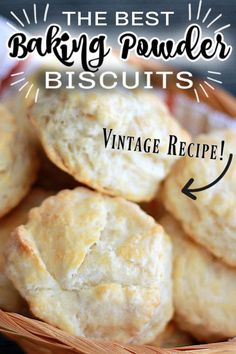 A classic no-fail recipe to make THE BEST flaky and buttery EASY BAKING POWDER BISCUITS, passed down from generation to generation. Such a great side to so many meals from the everyday to the special occasion holiday dinners. Baking Soda Biscuits, Yeast Biscuits, Bread Baking, Best Biscuit Recipe, Easy Biscuit Recipes, Easy Homemade Biscuits, Homemade Breads, Baking Power, Biscuit Bread