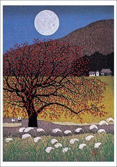 月上る 秋の会津 (Rising Moon), by Kazuyuki Ohtsu.