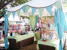 Craft Fair Booth.  Like the headband display and the curtains hung in each corner