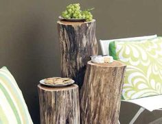 Fallen trees? No problem! Transform into rustic side tables instead