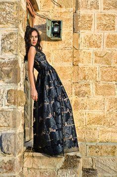 Luxuriöse Maxi schwarz Lace Abendkleid