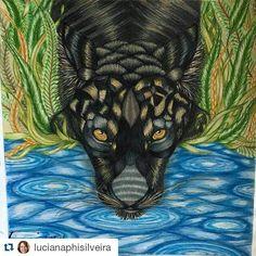 Incrível! Amei #Repost @lucianaphisilveira ・・・ Colori como um jaguar negro. Livro Savana Selvagem de Millie Marotta#milliemarotta #milliemarottabooks