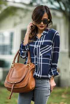 AFFORDABLE PLAID TOP + COGNAC BOOTIES | Sequins & Things