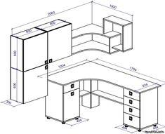 чертеж письменного стола с размерами