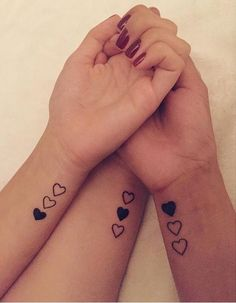 Unique ➿ Wrist Tattoos Forearm Tattoos for Women with Meaning - Page 80 of. Unique ➿ Wrist Tattoos Forearm Tattoos for Women with Meaning - Page 80 of 80 - Diaror Diary Sister Heart Tattoos, Small Best Friend Tattoos, Tattoos For Daughters, Squad Tattoos Best Friends, Tatoos For Best Friends, Tattoos For Friends, Tattoos For Sisters, Three Sister Tattoos, Mother Daughter Tattoos