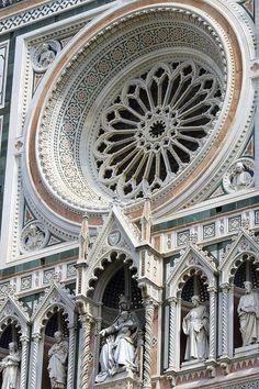 Santa Maria del Fiore - il Duomo, Wheel window - Florence, Italy - elaborate 19th-century Gothic Revival façade by Emilio De Fabris.