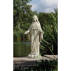 Garden Statuary 24 Inch Our Lady Of Grace Statue Roman Inc Outdoor Statuary Statues Home D