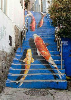 Street art, Koi Stairs http://pbs.twimg.com/media/DIwHGYpXkAAn9s1.jpg Kengarex