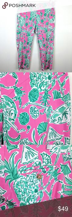 3316a2f3098891 Lilly Pulitzer Originals Resort Pineapple Capris Lilly Pulitzer Originals  Resort Fit Crop Pants Pineapple Pink Green