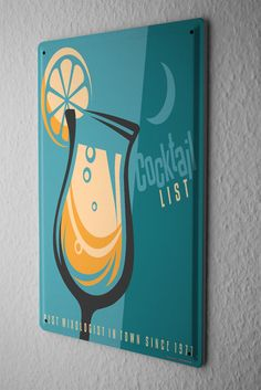 Tin Sign Nostalgic Alcohol Retro Cocktail list