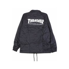 HUF X Thrasher Classic H Coaches Jacket ($75) ❤ liked on Polyvore featuring outerwear, jackets, huf, coach jacket, huf jacket, nylon jacket and logo jackets