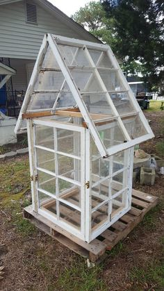 Greenhouse reclaimed salvaged window sashes 8 panes yard decor very cool - Backyard Landscaping Diy Greenhouse Plans, Cheap Greenhouse, Greenhouse Effect, Backyard Greenhouse, Greenhouse Wedding, Portable Greenhouse, Homemade Greenhouse, Backyard Aquaponics, Diy Mini Greenhouse