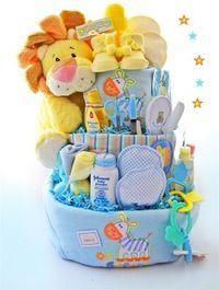 Трехъярусный торт из подгузников сделанный своими руками для новорожденного
